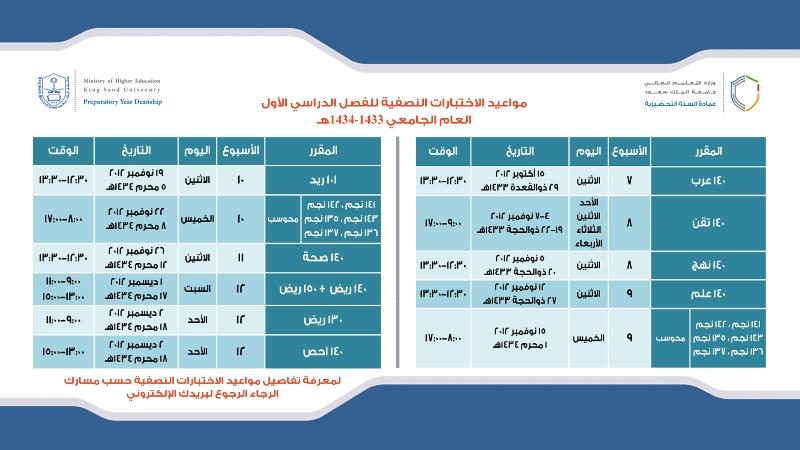 جدول اختبارات المنتصف لعمادة السنة التحضيرية Ksu Faculty